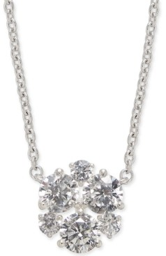 "Eliot Danori Silver-Tone Crystal Cluster Pendant Necklace, , 16"" + 1"" extender, Created for Macy's"
