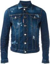 DSQUARED2 stonewashed distressed denim jacket