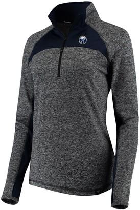 Buffalo David Bitton Women's Fanatics Branded Heathered Gray/Navy Sabres Static Quarter-Zip Pullover Jacket
