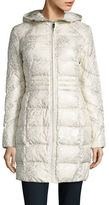 Eliza J Leopard Print Hooded Puffer Coat