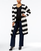NY Collection Plus Size Chevron Duster Cardigan