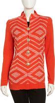 Misook Geometric Knit Golden-Button Cardigan