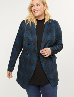 Lane Bryant Longer Length Bryant Blazer - Plaid Double Breasted Tailored Stretch