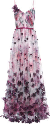 Marchesa Appliqued Satin-trimmed Floral-print Tulle Gown