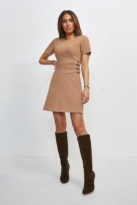 Karen Millen Compact Stretch Buckle Detail A Line Dress