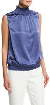 Lafayette 148 New York Marlana Sleeveless Silk Blouse w/ Smocked Neckline & Hem, Blue