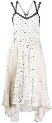 Koché Panelled Polka-Dot Asymmetric Hem Dress
