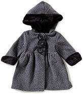 Starting Out Baby Girls 3-24 Months Flower Detailed Faux-Fur Hooded Polar Fleece Coat