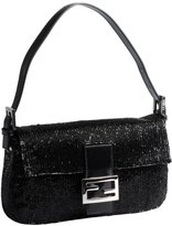 black beaded mini baguette shoulder bag
