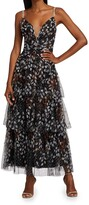 Thumbnail for your product : Marchesa Notte Printed Dot Tulle Ruffle Gown