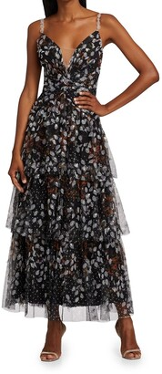 Marchesa Notte Printed Dot Tulle Ruffle Gown