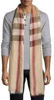 Burberry Men's Lightweight Check Linen Scarf, Camel