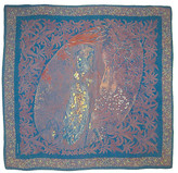 One Kings Lane Vintage Bottega Veneta Art Nouveau Scarf - The Emporium Ltd. - mauve/taupe/navy blue/multi