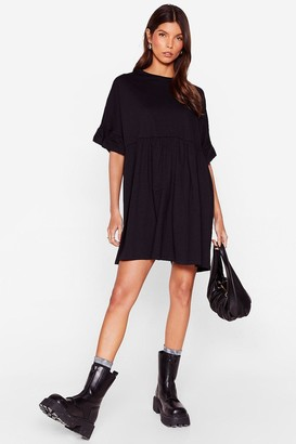 Nasty Gal Womens Frill in Love Mini Tee Dress - Black - L, Black