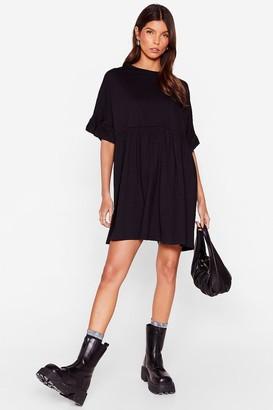 Nasty Gal Womens Frill in Love Mini Tee Dress - Black - S, Black