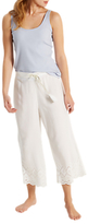 White Stuff Cecile Cutwork Cropped Pyjama Bottoms, Sea Shell