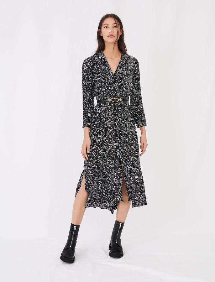 Maje Long crepe printed dress