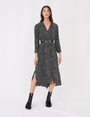 Maje Long crepe printed dress