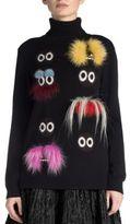 Fendi Fur Monster Wool Turtleneck Sweater