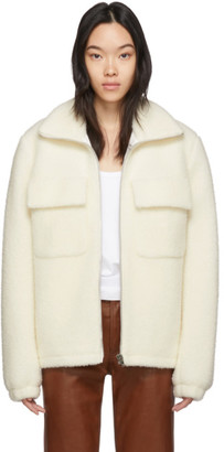 Helmut Lang Off-White Wool Oversized Teddy Jacket