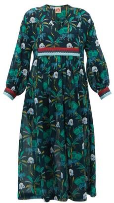Le Sirenuse Le Sirenuse, Positano - Callista Tiger-print Cotton-voile Kaftan - Womens - Navy Print