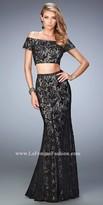 La Femme Off The Shoulder Lace Two Piece Prom Dress