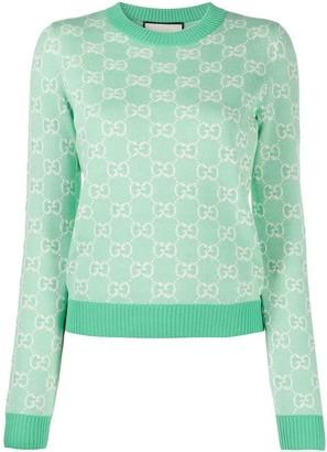 Gucci Pastel Hued Wool Jacquard Logo Print Sweater Water Green