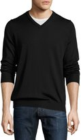 Neiman Marcus Wool Long-Sleeve V-Neck Sweater, Black