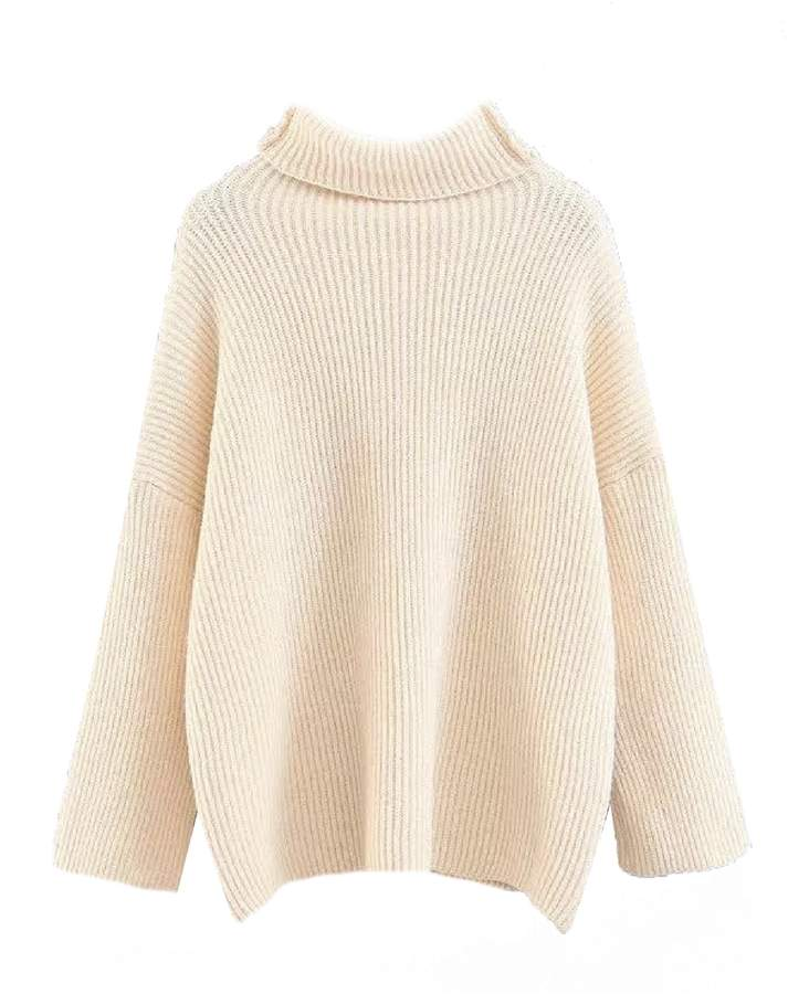 Goodnight Macaroon 'Birdie' Ribbed Knit Roll Neck Oversized Sweater (5 Colors)