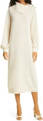 By Ti Mo Teddy Long Sleeve Stretch Wool Sweater Dress