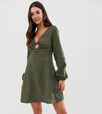 Asos Tall DESIGN Tall linen mini skater dress with faux tortoiseshell ring-Green