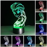 Amazing 3D illusion Effect LED Night Light Frozen Pricess LED Desk Table Night Light Lamp 7 Color Change Acrylic Press Lamp Kids Children Holiday Gift Home Office Baby Room Decoration Night Light
