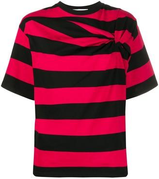 MSGM twisted-detail striped T-shirt