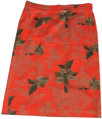 Genny Orange Cotton Skirt for Women Vintage