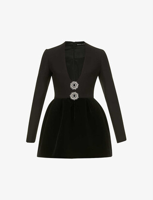 David Koma Plunge-neck embellished velvet mini dress