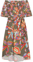 Peter Pilotto Off-the-shoulder Printed Cotton-blend Poplin Dress - Army green