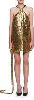 Halpern Halter-Neck Golden Foil Georgette Mini Dress