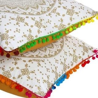 """Oussum Ombre Decorative Pom-Pom Mandala Cotton Cushion Cover 16""""X16"""" Set Of 5"""
