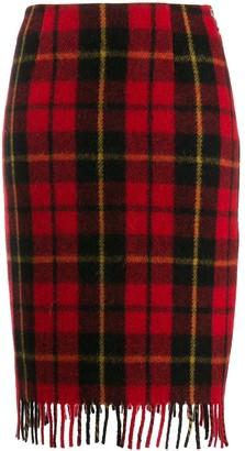 Marine Serre fitted tartan skirt