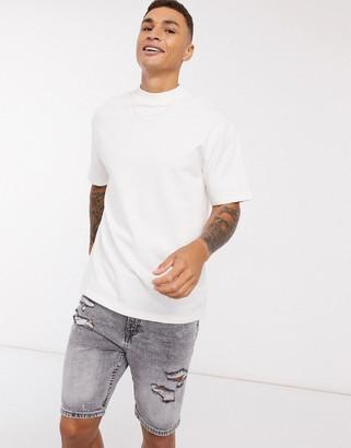 Topman oversized high neck t-shirt in white