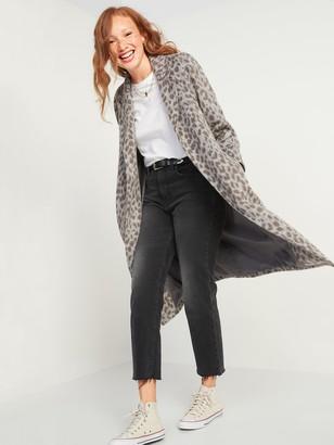 Old Navy Oversized Soft-Brushed Leopard-Print Tie-Belt Coat for Women
