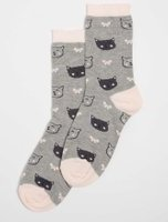 Dorothy Perkins Womens Cat and Bow Print Ankle Socks- Grey