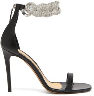 Alexandre Vauthier Elsa Crystal Chain-strap Leather Sandals - Womens - Black