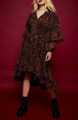Topshop Ruffle Long Sleeve High/Low Print Midi Dress