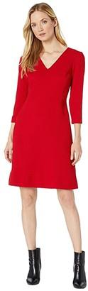 Lauren Ralph Lauren Dobby Fit-and-Flare Dress (Parlor Red) Women's Dress