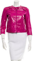 Miu Miu Scoop Neck Snakeskin Jacket