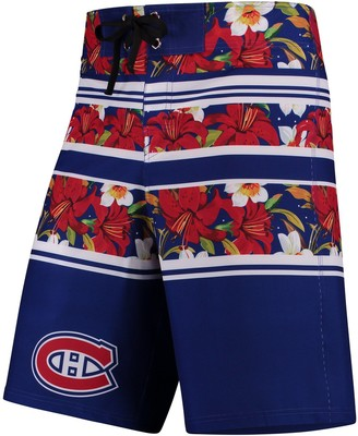 Men's Blue Montreal Canadiens Floral Stripe Boardshorts