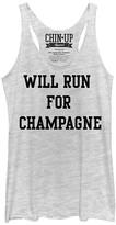 Chin Up Apparel Women's Tank Tops White - White Heather 'Will Run for Champagne' Raw-Edge Racerback Tank - Women