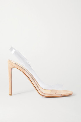 Alexandre Vauthier Amber Ghost Suede And Pvc Sandals - Neutral