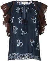 Sea floral print crochet trim blouse